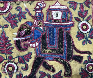 Lovely antique Indian Jain embroidered book cover with elephants