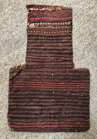 Antique flatwoven salt bag made by the Kurds of Khorassan ca 1910 size 52 x 33 cm Original back excellent condition all wool and natural dyes fine quality