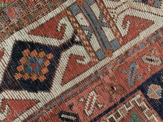 just look at the colours on this wonderful antique shahsavan rug fragment from the mid 19 c they don't get much better. Also the softest wool size is 123 x 104 cm.  ...