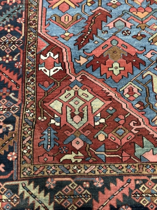 Antique Serapi type Karaja carpet from the late 19c with lovely soft natural dyes including a sky blue. Even wear just cleaned few small old repairs and last cm of ends expertly rewoven  ...