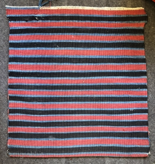 Nice antique sumac bag ca1900 all wool and natural dyes size 24 x 22 inches (face) Very good condition original stripey kelim back one old repair to stripy partcat top