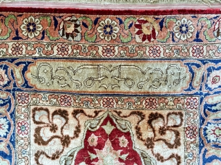 A beautiful all silk and metal thread inscribed and signed Hereke prayer rug ca 1930 in perfect condition soft and floppy no cracking.  Hanging strip to rear and painted Dutch import  ...
