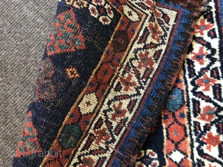 nice Veramin bagface with thick lustrous wool and great natural colours  Ca 1880 just hand washed. Small old repair to bottom border and chunks out of bottom corners Otherwise full pile size  ...