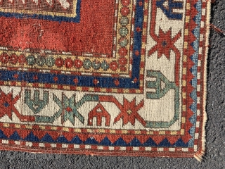 Rare early 19 c fachralo prayer rug with open white ground. Beautiful piece with great colours but has been attacked by moths at some stage. Has now been deep cleaned  so totally  ...