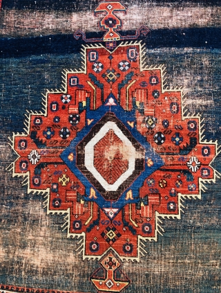 Very lovely tribal Afshar rug with strong abrash on a blue green corroded ground. All wool and natural dyes embroidered end finishes. Rugs like this are surprisingly hard to find, a real  ...