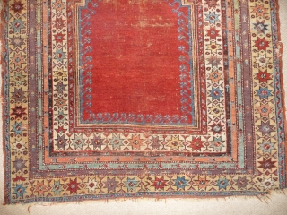SOLD  Lovely antique Ottoman prayer rug, beautiful colours,original sidecords,reamains of kelim top and bottom, 5ft4ins x 4ft. See it in London at KARMA