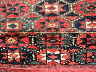 A 19/20th Century Jaff Kurd Khorjin with Brocaded Striped Kilim Back    Size; Face:70 x 68 cm Overall (including flat woven ties): 147 x 68cm  Well drawn with good colours and unusually the  ...