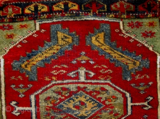 A 19th Century Anatolian Yastik   Size L 70 x  W 56 cm.    A well drawn Yastik in original condition with luminous colours from the second half of the 19th century the  ...