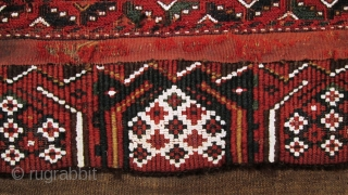 A Turkman brocaded Torba,possibly Yomut, probably late 19th century. Size; main panel       122 x 48cm       secondary panel  122 x 14cm    ...