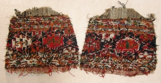 A pair of late 19th/early 20th century Shah Savan soumak panels.   Great colours good condition for age, each face is approximately 50 x 34 cm (not including fragmented red woollen wefted  ...