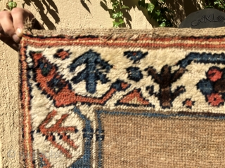 "An early N.W. Persian, Kurdish small rug  3'4"" X 5'8""  Ca.1800  An amazingly graphic design, beautiful early drawing of all the different designs in the rug. Folks familiar with  ..."