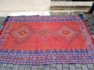 Antique Wonderful Caucasian Verneh Rug, Karabakh flatwave. 19th century. Beautiful natural colours, weave and embroidery, drawing, figures. Cotton on cotton. Great condition. Size 170x250cm.