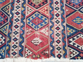 Antique Caucasian Shirvan Kilim, size ~140x320cm. All natural colors, wool on wool.