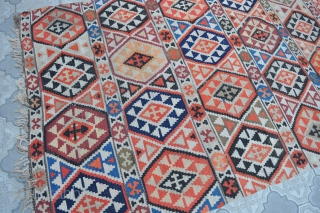 "Semi antique Caucasian Shirvan kilim, ~80-100 years old. Wool on wool. Size 150x290cm, 4'11"" x 9'6"". It has some wear, as seen in the photos, some color run, but good overall condition."