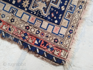 "Antique Caucasian Rug, Kuba Shirvan Lesghi Star, condition as seen at pictures, a lot of wear, but it still has its charm! ~Size 3'4""x4'10"" (100x150cm)."