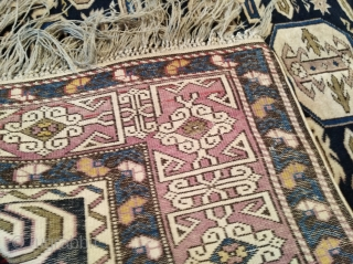 Antique Kuba Perepedil rug. Size 105x165cm. Holes pictured, other than in very good condition. Some synthetic color.