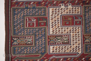 Caucasian Karabagh Verneh soumak S-shaped dragons, all natural veg. dyed, wool on wool. Size 290x194cm 9.51'x6.37'