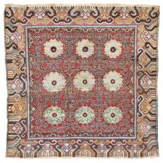 Lot 12, Khotan silk, 88 x 88 cm (2ft. 11in. X 2ft. 11in.), starting bid Euro 1.200, Auction Saturday January 27th 5pm. https://www.liveauctioneers.com/item/58568879_khotan-silk