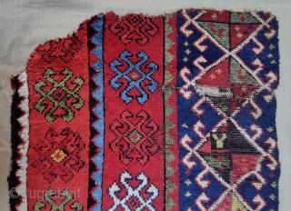 "Central Anatolian Konya Fragment Rug Size:76x72cm / 2'6""x2'4"""