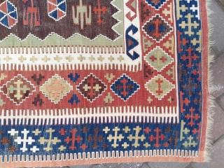 Central Anatolian Konya Obruk Kilim Rug 19th Century Sizi:134 x 177 cm