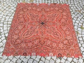 "Antique Victorian Kashmir Paisley Shawl 19th century. Size:176 x 176 cm / 5'9""x5'9"""