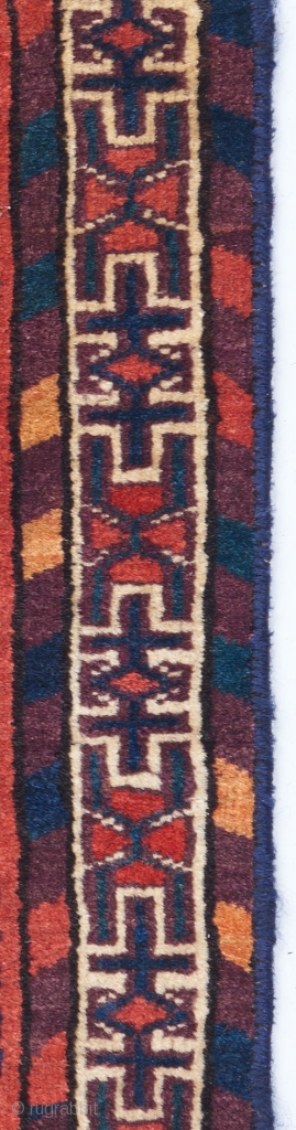 """Yomut or P-chodor trapping with gorgeous color and great quality. Probably an Ok-bash fragment. Asymmetrically knotted open to the left. 1'10"""" x 1'3""""."""