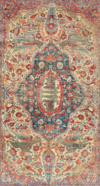 "A great, early, all silk Kerman. 6'2"" x 4'2"". 