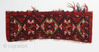 """Superb Ersari torba with incredible wool and color. Silk and cotton highlights. One patch repair as visible. 3'8"""" x 1'3""""."""