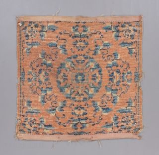 "Ningxia square with great drawing, age and somewhat rare ground color. Early 19th. 2'4"" x 2'5"" Condition issues as visible. 
