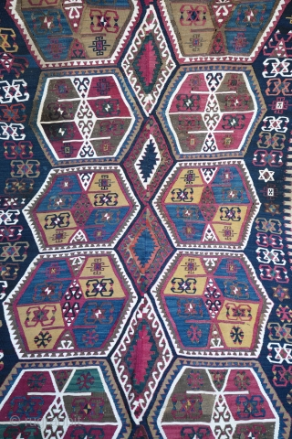 Good condition for this  Malatya kilim , end 19 century ... Size: 337 cm / 142 cm  Contact for more information .