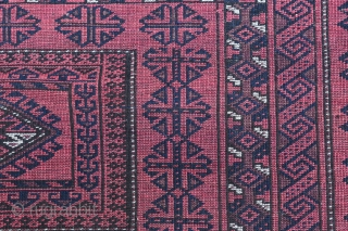 Very fine Baloutch rug ,  early 20 century . Good density of knots .  The dark brown is worn in some places and there is a very very  small hole .  ...