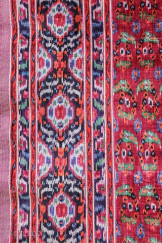 Silk velvet Ikat very fine work , boteh design and good purple colors  .
