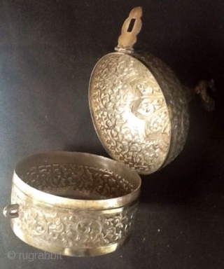 19th Century : Silver 'Khasdan' from Lucknow,India A beautiful looking silver presentation round tray with dome shaped lid with peacock on the top is offered for your kind attention. Authenticity is Guaranteed with no  ...