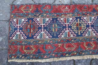 """An antique Persian Mafrash Shahsavan Nordwest Persia Kamseh region Age: around 1880 Dimensions:3.2""""x1.5"""" Material: wool on Wool With natural colors Condition: Relatively good and okay."""