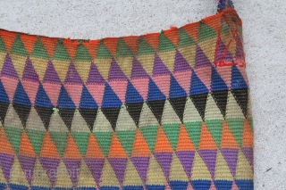 Tibetian bag 0,37 x 0,36 m, two little holes one in front and one on the back, wool on wool, full colours, good condition