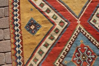 very fine Gaschgai Kelim antique around 1880 Wool on Wool, very good condition. Size: 252 x 140 cm