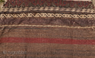 19th century Baluch bag with unusual border, carefuly made, natural deep colors, some silk fibres with aniline dye.No repairs, no tears, some corrosion, a solid bag or pillow  52 x 54 cm.