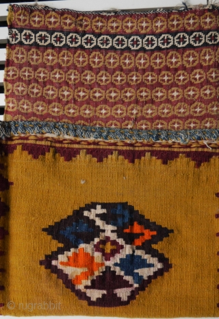 Qashqai chanteh, most colours natural except for the oranje on the kilim backside. 31 x 70 cm. Borders intact.