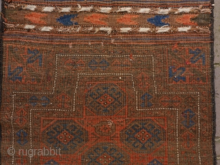 Rare small Baluch double niche rug in excellent condition, complete with kilim ends. is has a silky glow. 