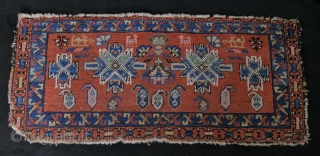 very unusual and colourful Caucasian bagface or mafrash with animals, two dragons and bottehs, natural colours with one aniline pink (see picture of the backside. 
