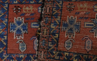 very unusual and colourful Caucasian bagface or mafrash with animals, two dragons and bottehs, natural colours with one aniline pink (see picture of the backside.  44x103 cm.