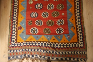 Qashqai kilim in good condtition, no repairs or damage or wear, a good strong and recently cleaned kilim.  135 x 268