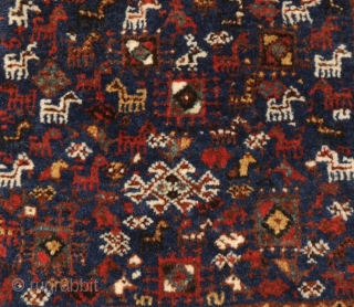 Qashqai bag with lots of animals in excellent condition, natural colors,full pile. 60 x 51 cm.