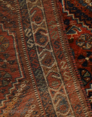 South Persian rug with very beautiful natural sparkling colours, green and turquose (a tip faded orange might be aniline). It is 