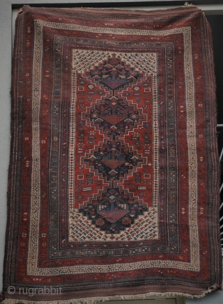 Special offer: Luri Kurdish rug in excellent condition, around 1900, natural colours, no wear or restaurations or damage. Brocaded kilim ends intact.  1.64 x 2.34 cm.