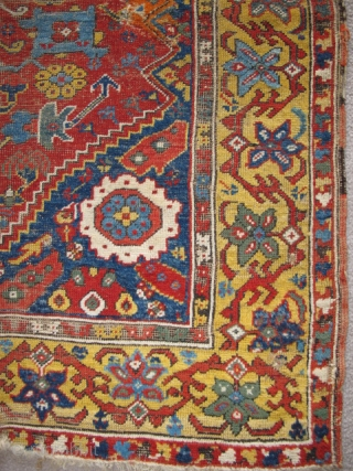 Kula type rug, (or at least it appears so at first glance) Intensely saturated colors including two yellows, at least three blues and four greens. Lots of lazy lines. The border is  ...