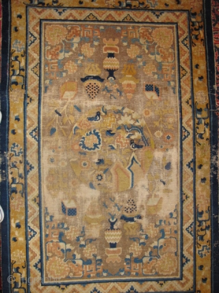 Chinese Ningxia Rug, Imagery of abundance, medallions with birds and fret-dragon corner pieces in keeping with the aesthetics of Qianlong era, (1735-1796). 4 blues with a light blue at the bottom of  ...