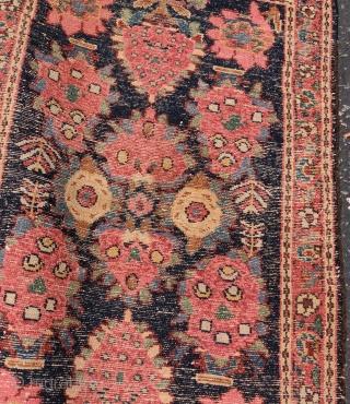 "really nice Persian village mat or poshti, probably Hamadan, 1'11""x3'0"". All vegetal dyes."