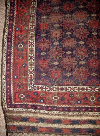 Elegant Antique Baluch Main Carpet With Snow Flake