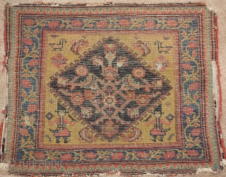 """Interesting Senneh or related west Persian bagface with Qajar soldiers bearing swords and birds in the corners, nice wool and saturated natural colors including a great yellow ground. apx. 26""""x 20"""""""